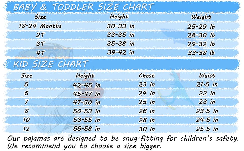 boys pajamas size 18M 24M 2T 3T 4T toddler pajamas big kids pjs for 5 6 7 8 10 12 Years old