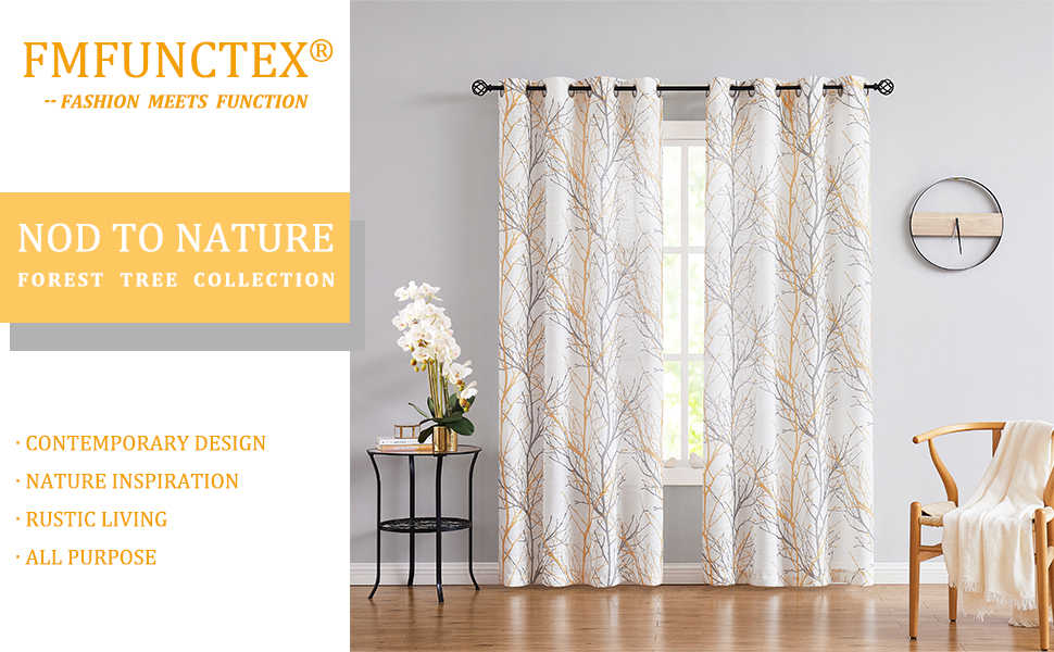 Yellow white tree curtains for living room