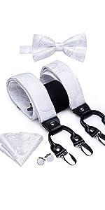 white paisley suspender bowtie set