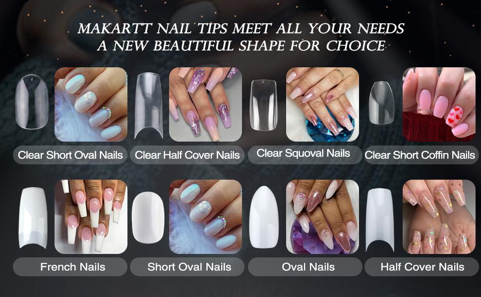 Amazon Com Makartt 500pcs Half Cover False Nails Press On Nails Tips Natural Acrylic Nails 10 Sizes For Nail Salons And Diy Nail Art A 08 Health Personal Care