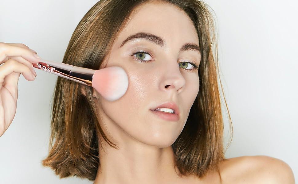 angled blush and contouring brush rose makeup brushes