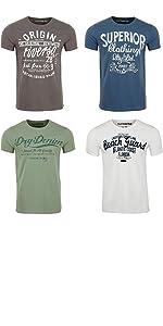 riverso Herren T-Shirt Rundhals RIVLeon 4er Pack O-Neck Kurzarm Print Tee Shirt 100/% Baumwolle Regular Fit Gr/ün Blau Wei/ß Grau Rot Orange S M L XL 2XL 3XL 4XL 5XL