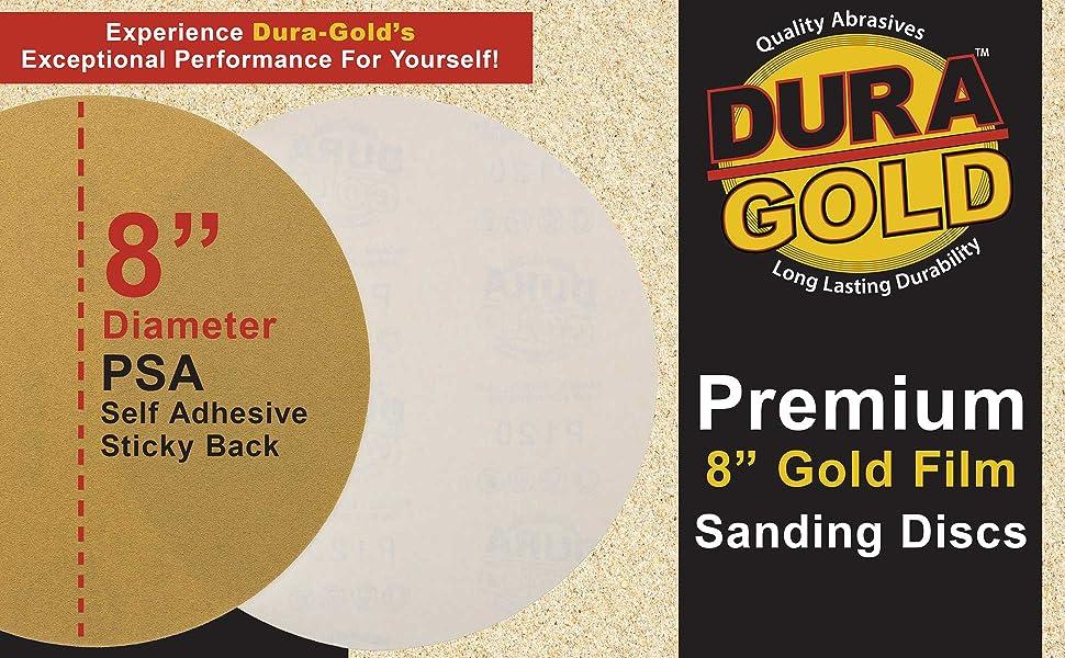 "Dura-Gold 8"" Premium PSA Self Adhesive Stickback Sanding Sandpaper Discs"