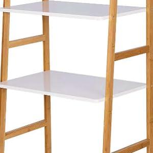 eSituro Estanter/ía Escalera de Bamb/ú con 4 Niveles Librer/ía Estante Esquina de Almacenamiento para Ba/ño Cocina y Dormitorio 60 x 40 x 148cm SBSS0027