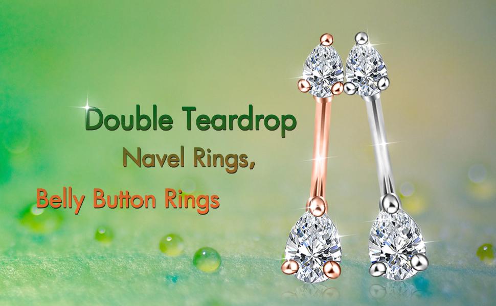 Teardrop belly button rings