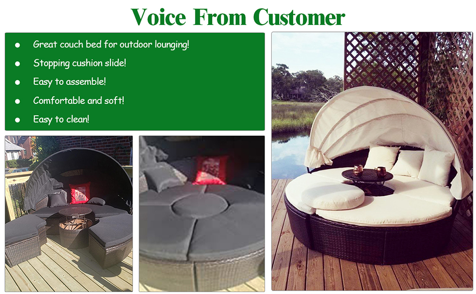 patio outdoor wicker round daybed