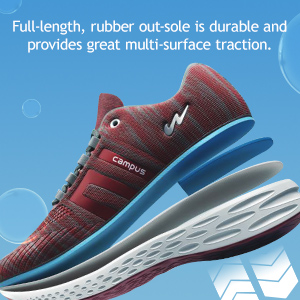 Full-length, Rubber Outsole is Durable Provides Great Multi-Surface Track