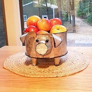 Galvanized Pig Standing Bowl for Fruit Container or Decorative Greenery Planter pig decor pig bowl