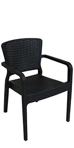 black plastic patio armchair
