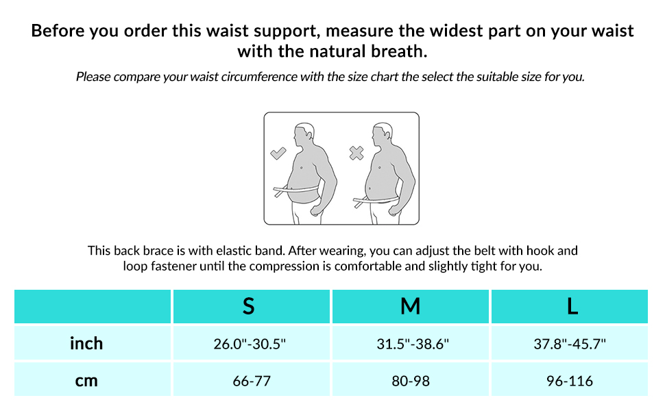 back support size chart