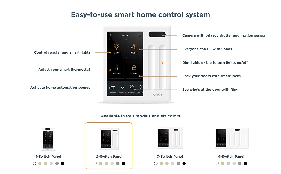 Brilliant Smart Home Control (2-Switch Panel) — Alexa Built-In & Compatible with Ring, Sonos, Hue, Kasa/TP-Link, Wemo, SmartThings, Apple HomeKit — In-Wall Touchscreen Control for Lights, Music & More c38eeb70 d9bb 4885 a381 ce496d7d5329