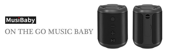 MusiBaby, on the go music baby!  [Upgraded] Bluetooth Speakers,MusiBaby Bluetooth Speaker 5.0,Outdoor,Waterproof,Wireless Speaker,Dual Pairing,Loud Stereo Sound,Booming Bass,25h Playtime for Camping,Beach,Pool,Shower(Black) c391bf0a 5fff 4b3f ab7c 314272ca4371