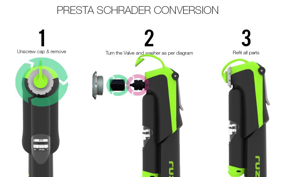 """ZERO 12 télescopique 8/"""" Mini Main Vélo//Vélo Pompe Presta//Schrader Compatible"""