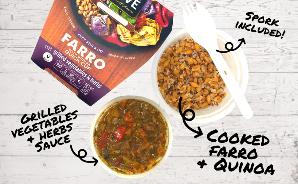 farro quinoa quick meal quinoa grilled vegetables and herbs spork spoon included