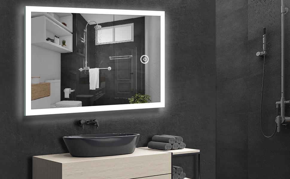 Badezimmerspiegel LED Badspiegel Kosmetischer mit Beleuchtung Touch-Schalter LITZEE 50x70cm Badezimmer Wandspiegel mit Antifog-Funktion