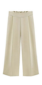 Tanming Women's 01High Elastic Waist Ankle Length Cropped Wide Leg Pants