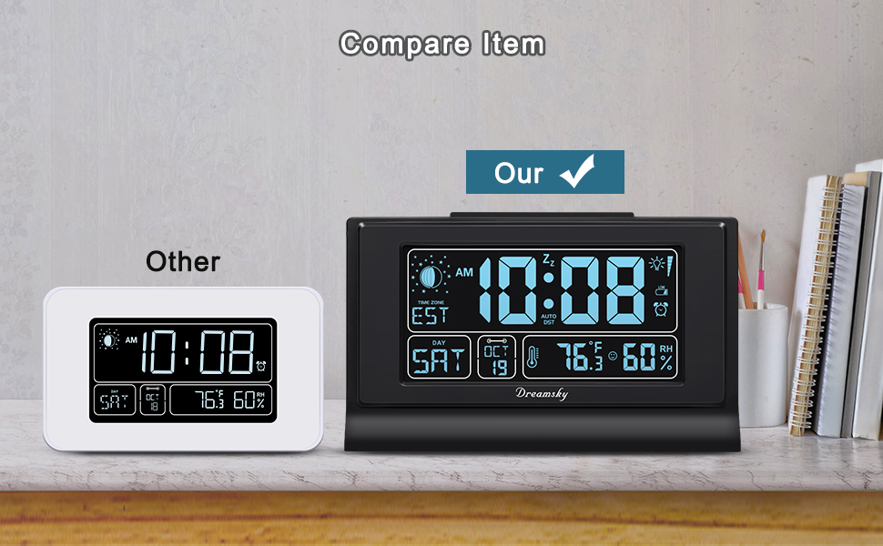 DreamSky Large Auto Set Alarm Clock with Moon Phase