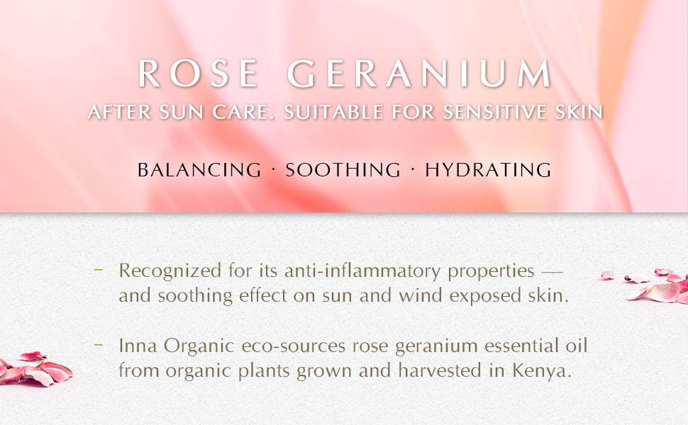 rose geranium hydrating soothing balancing after sun care sensitive skin