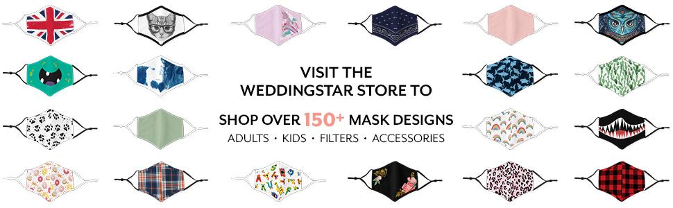 weddingstar washable cloth face mask reuseable adjustable