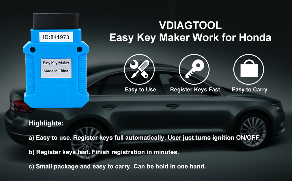 EasyKeyMaker For Honda Programmer Support All Keys Lost Transponder Key NEW