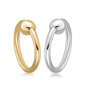 14K Gold Captive Bead Hoop16 Gauge - Women's