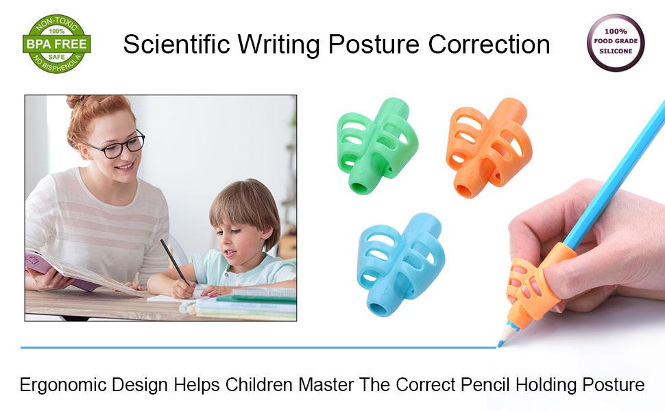 poign/ée crayon Grip en silicone Outil de correction de posture pour aider les enfants /à /écrire convient aux mains gauche et droite Aide /à l/écriture 16 pi/èces