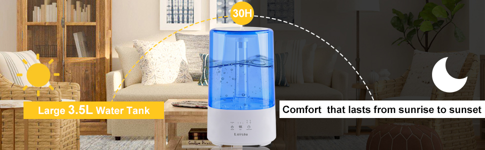 Blue Bedroom Office Loistu Ultrasonic Cool Mist Humidifier for Home Essential Oil Diffuser with 7-Color Night Light Auto Shut-Off Top Filling 3.5L Timer Humidifier Works Up to 30 Hours