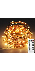 33 FT 100LED Copper Wire String Lights USB Powered with Remote Control, Warm White