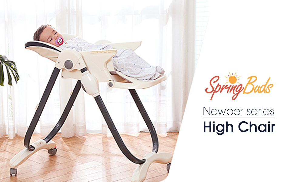 SpringBuds Baby High Chair with Big Detachable 2 in 1 Tray Reclining Height Adjustable Simple Fold 4 Lockable Wheels (White)