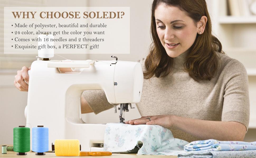 SOLEDI Kit de Costura de Bobinas de 24 Hilos de Colores para Coser ...