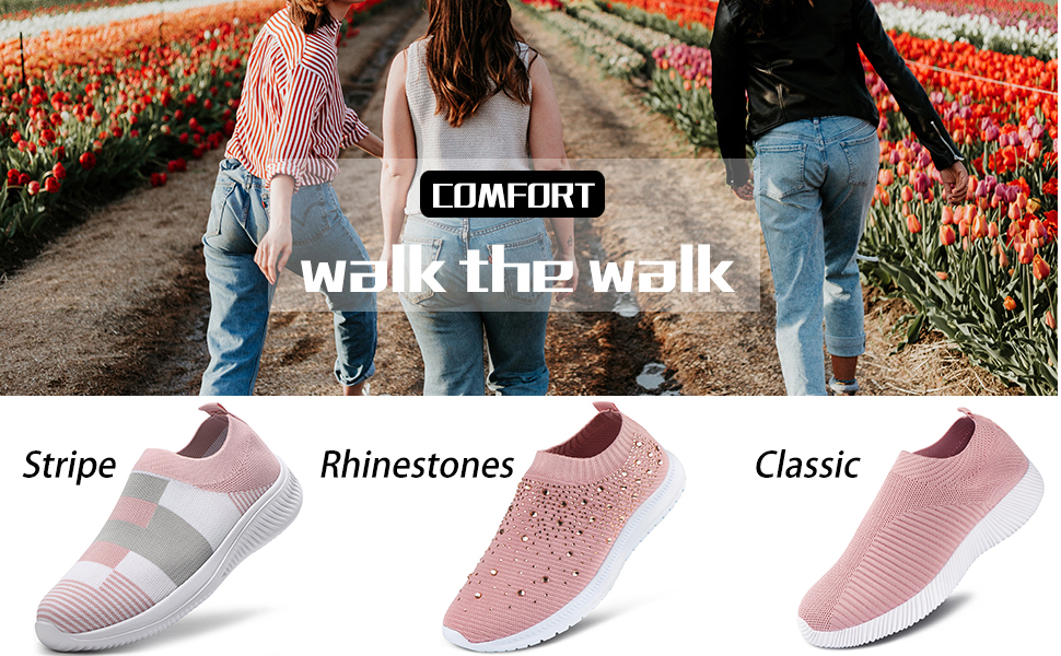 Walking shoes sock sneakers pink