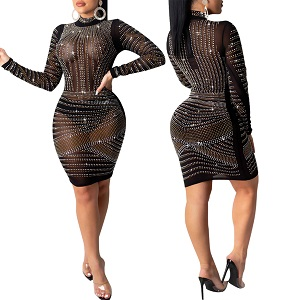 PORRCEY Women's sexy hot diamond craft long-sleeved dress body party club night out dress