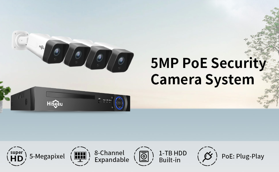 5MP PoE Security Camera System with Audio