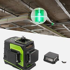 Facile à utiliser: ¡ñPlaque cible verte: augmente la visibilité du faisceau laser. ¡ñLes capots de protection supérieurs peuvent être retirés et remplacés par un tournevis. ¡ñLa résistance à l'eau / à la poussière IP54 vous assure de bien travailler dans des conditions de travail dangereuses.
