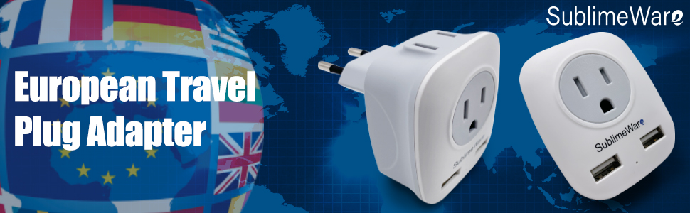 European Power Adapter (3 Pack) - w/ 2 USB Ports & 2 AC Outlets - USA to EU Outlet Plug - US to Euro