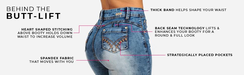 High waisted butt lifting levanta cola skinny stretchy jeans for women to make butt rounder perkier