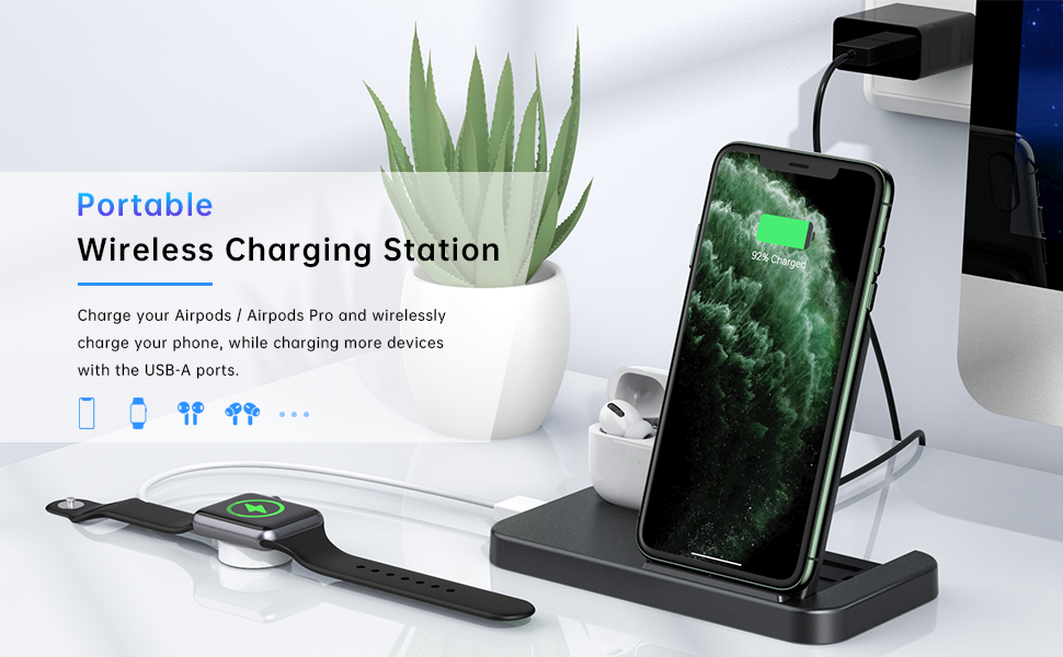 Wireless Charger 2 in 1 Wireless Charging Station for AirPods Pro iPhone Wireless Charging Stand