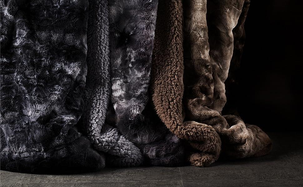 Faux Fur Reversible Tie-dye Sherpa Blanket 6