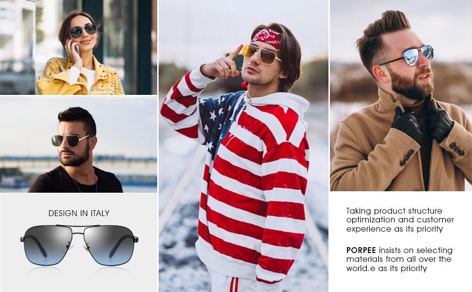Super Leggero Metallo /& TR90 Telaio PORPEE Occhiali da Sole Polarizzati Uomo Donna Moda 2019 Anti-Allergia - Lenti in Nylon Polarizzato HD 100/% Protezione UV400