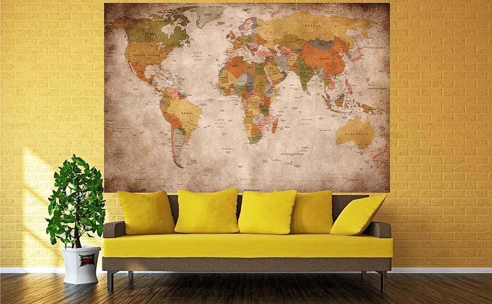 great-art Fotomural mapamundi - Motivo de Estilo Vintage y Retro – Mural de mapamundi XXL – Decoración Mural