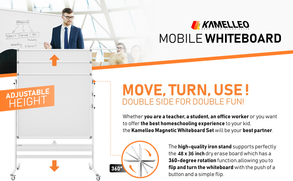 Mobile whiteboard Double Sided Dry Erase Board Magnetic Big White Board on Wheels Office Classroom