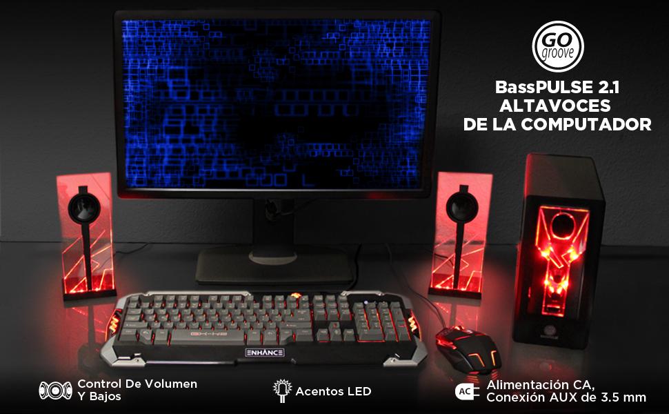 GOgroove BassPULSE 2.1 Altavoces para Computadora con Luces LED y Subwoofer Activo - Sistema de Altavoces para Juegos en Computadoras de Escritorio, ...