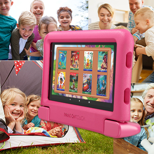 """tablet 6 - Dragon Touch KidzPad Y88X 7 Kids Tablet With WiFi, Android 10, 7"""" IPS HD Display, 32GB ROM, KIDOZ Pre-Installed, With Disney Authorized Contents, Kid-Proof Case, Shoulder Strap And Stylus, Pink"""