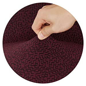 Deconovo Maze Jacquard Knit Stretch Chair Cover Dining Wedding Party Seat Slipcover Spandex Fabric