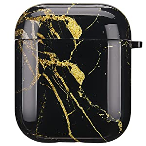 airpods case black golden marble