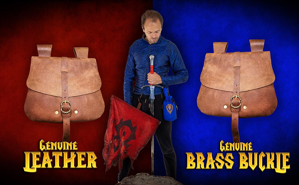 Mythrojan Genuine leather medieval bag SCA LARP Reenactment ELF Drow Dark elf knight medieval