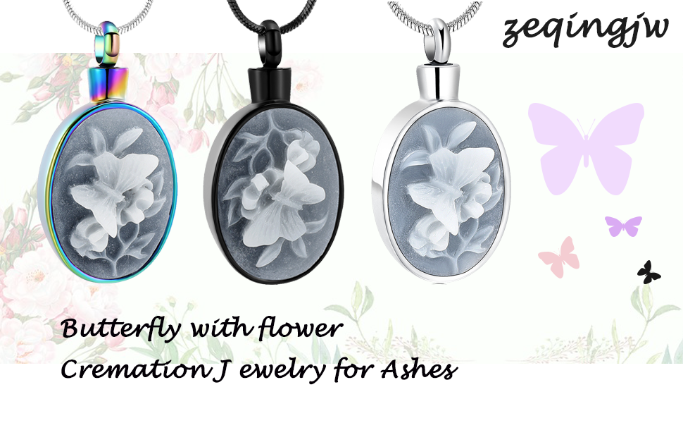 Butterfly with Flower Urn Necklace