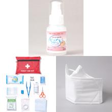 アルコール除菌ジェル、救急セット、マスク