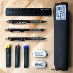 black slim pencil case stationery school office art supplies case marker pen erasers ruler organizer