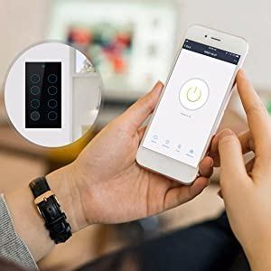 Home Automation Switch,Alexa Touch Switch, 8 Gang Switch, WiFi Control Switch, Remote Control Switch